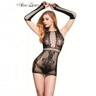 Lenjerie fashion din material transparent, negru, aspect dantelat