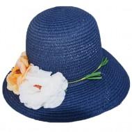 Palarie clasica de culoare bleumarin cu trandafiri colorati