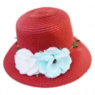 Palarie eleganta de dama, culoare visinie, cu flori in lateral