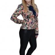 Pantalon casual cu piele ecologica in fata, de culoare neagra