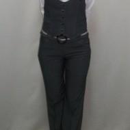 Pantalon casual de culoare gri inchis din material usor elastic