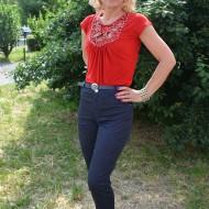 Pantalon casual de primavara-vara cu croi conic, bleumarin