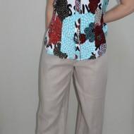 Pantalon comod de vara, masura mare, culoare bej, model simplu