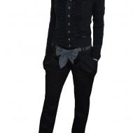 Pantalon cu buzunare laterale aplicate, nuanta de negru