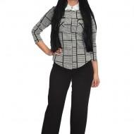 Pantalon de zi cu aplicatii de voal,nuanta neagra