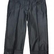 Pantalon elegant trei-sferturi, de culoare gri, din material lucios
