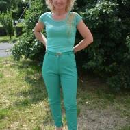 Pantalon fashion in nuanta verde deschis, model lung de vara