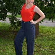 Pantalon lung de vara bleumarin, masura mare, din bumbac