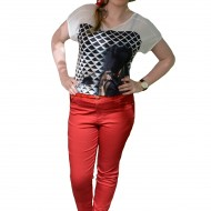 Pantalon lung de vara, rosu, material usor elastic, talie medie