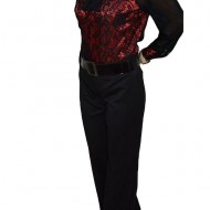 Pantalon lung, masura mare, de culoare neagra, cu curea in talie