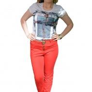 Pantalon lung masura mare, de culoare rosie, curea fashion