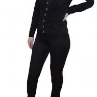 Pantalon trendy, nuanta de negru, inchidere cu fermoar
