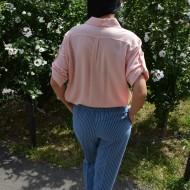 Pantaloni lung, confortabil cu croi pe picior, nuanta de bleumarin