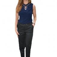 Pantaloni office Medeline cu croi drept,nuanat de negru