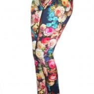 Pantaloni rafinati, bleomaren cu  imprimeu floral, curea din lac
