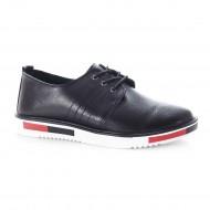 Pantof comod cu siret si talpa joasa, din piele naturala neagra