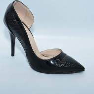 Pantof cu tocul cui, din piele ecologica lucioasa, culoare neagra