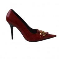 Pantof elegant, din piele naturala lacuita, de culoare rosu