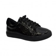 Pantof material ecologic lucios, design de piele de sarpe, negru