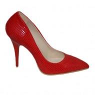 Pantof modern cu toc inalt, nuanta rosie, design de patratele