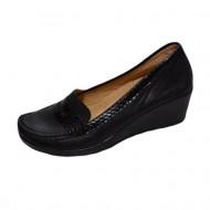 Pantof negru de zi cu talpa usoara, ortopedica, de inaltime medie
