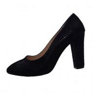 Pantof trendy cu design de patratele, nuanta bleumarin lucios-mat