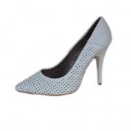 Pantofi albi din piele naturala, perforati, cu toc elegant inalt