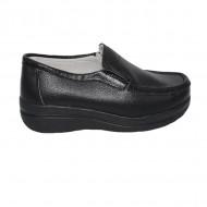 Pantofi negru cu talpa ortopedica ,din piele,model simplu