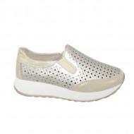 Pantofi sport dama ,aurii cu perforatii si talpa grosa