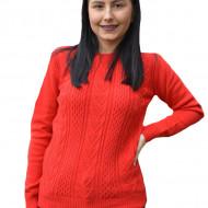 Pulover tricotat Adala cu model rafinat,rosu