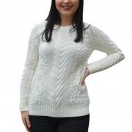 Pulover tricotat Tannia ,model deosebit,3D,alb