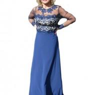Rochie albastra de seara, model lung cu broderie florala cu strasuri