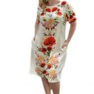 Rochie bej cu imprimeu de flori realiste, model scurt masura mare
