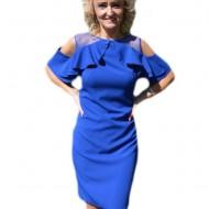 Rochie casual-elegant cu volanase in partea de sus, albastra