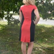 Rochie casual, feminina, de culoare corai cu negru