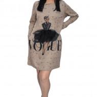 Rochie casual Lara ,cu design fashion,nuanta de maro