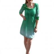 Rochie chic verde, croi modern tip gogosar cu maneca trei-sferturi