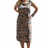 Rochie confortabila de zi, culoare verde inchis, material tip in