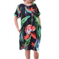Rochie confortabila din vascoza, neagra, cu imprimeu multicolor