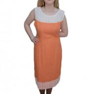 Rochie cu dantela aplicata, nuanta de portocaliu, fermoar