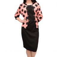Rochie cu design de peplum in talie si buline negre pe fond corai