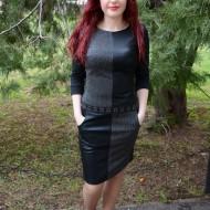 Rochie cu imitatie de piele, nuanta de negru-gri si buzunare
