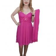 Rochie dama, nuanta de roz, floare moderna aplicata