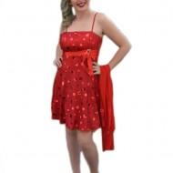 Rochie de banchet, cu buline, de culoare rosie