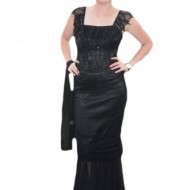 Rochie de gala aparte, cu doua piese, neagra complect, deosebita