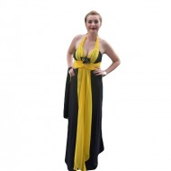 Rochie de gala exceptionala, cu insertii din dantela si voal galben