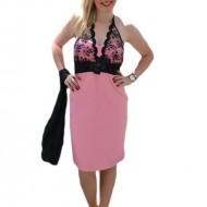 Rochie de gala scurta, un roz placut cu insertii din dantela ca design