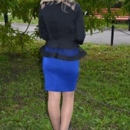 Rochie de ocazie cu peplum, neagra sus si albastru in partea de jos