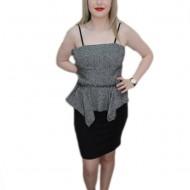 Rochie de ocazie, de nuanta negru-gri, cu peplum in talie