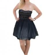Rochie de ocazie, neagra, din tul si paiete cu bretele detasabile